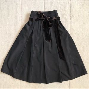 Zara   Flared Pleated Belted Midi Skirt